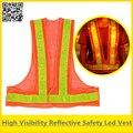 Chaleco naranja reflectante chaleco de seguridad del tráfico led con luces led de alta visibilidad chaleco envío gratis