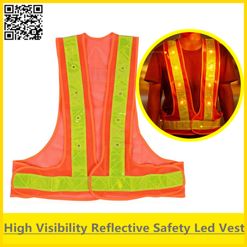 imágenes para Sfvest orange led chaleco reflectante chaleco de seguridad de tráfico con luces led de alta visibilidad chaleco envío gratis