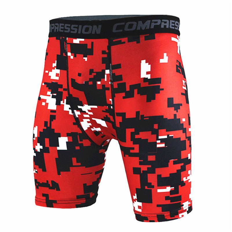 Mens Camouflage Shorts Bodybuilding Skin Tight MMA Workout Gyms Fitness Sporting Short Pants Joggers Quick Dry Tights Sportswear
