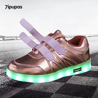 7ipupas Frosted Gold Vamp Kid Casual Shoes Led Lights Flaring Sole Glowing Sneakers For Girl Boy