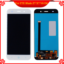 5'' LCD White Full Display Touch Screen Digitizer Assembly Replacement For ZTE Blade X7 D6 V6 Z7 Free Shipping Mobile Phone LCDs