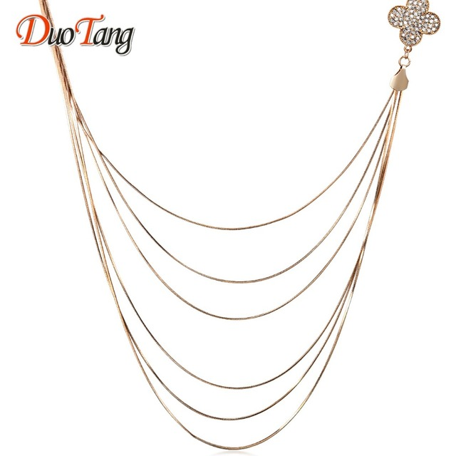 DuoTang Trendy Top Gold Plated Chains Necklace New Fashion Elegant Metal Tassel Lucky Clover Long Necklace Woman Jewelry Gift