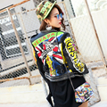 2016 nova queda e roupas de inverno carta rabisco personalidade rebite motocicleta roupas de couro vestuário feminino projeto short slim casacos