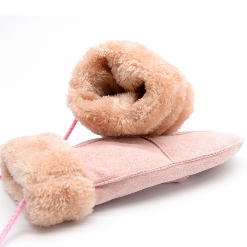 Women Winter Thick Faux Wool Sheepskin Warm Gloves Fashion Wind Suede Leather Fur Famale Gloves Full Fingers Outdoors Mittens