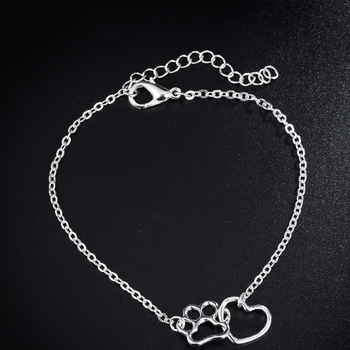 Gift For Her-Cute Cat Paw Print Silver Gold Color Charm Bracelets 4
