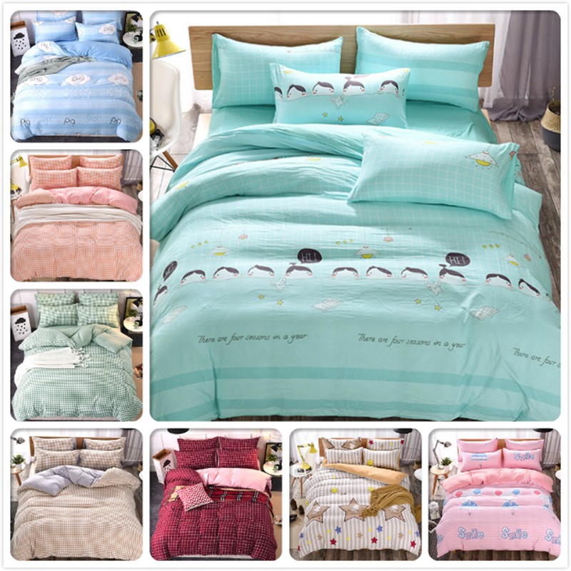 Washable Cotton Plaid 3/4 Pcs Bedding Set Kids Bedclothes 1.5m 1.8m 12m Flat Sheet Bed Linens Queen Double Duvet Cover Bedlinens Strong Resistance To Heat And Hard Wearing Power Source