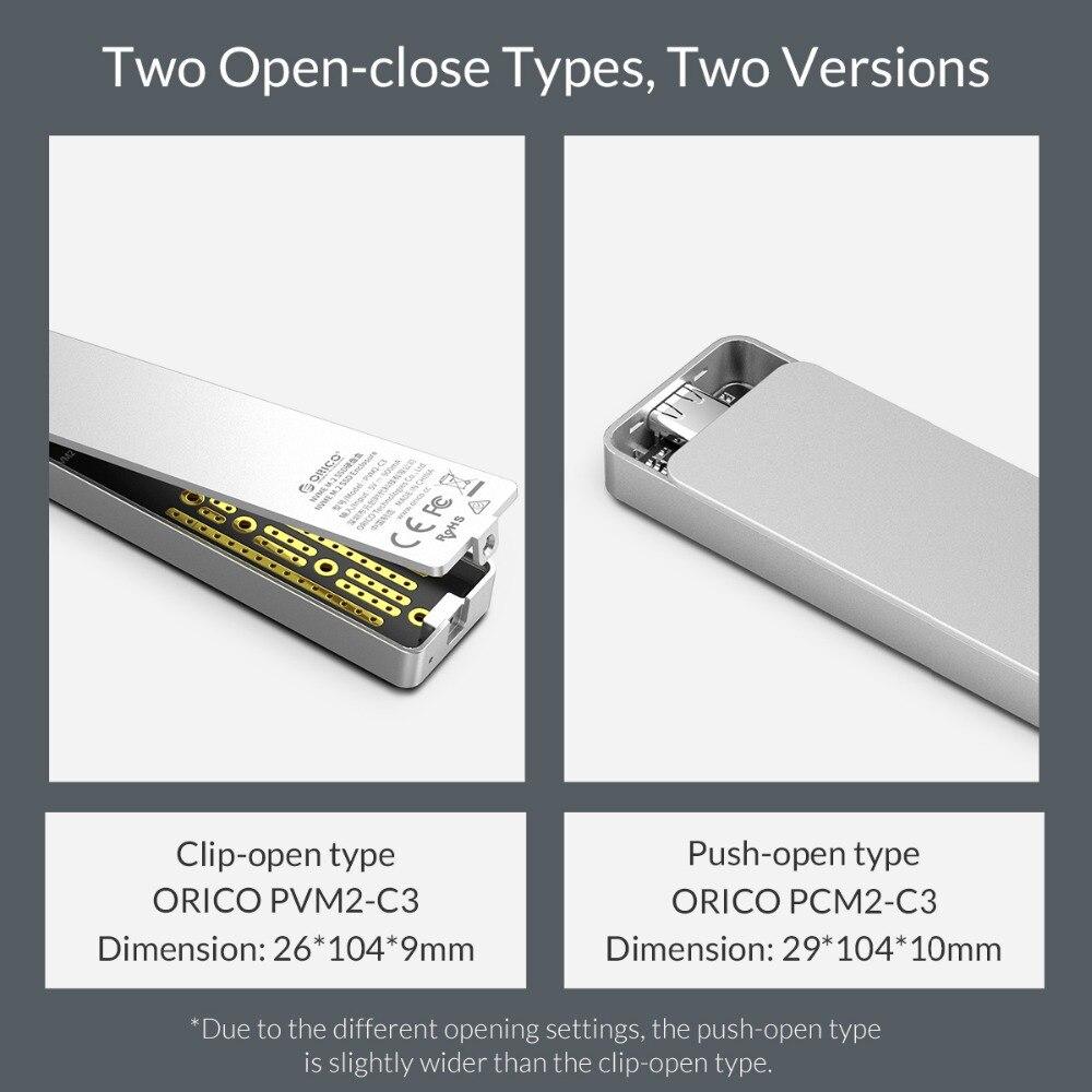 ORICO M.2 boîtier SSD 10 Gbps prend en charge le protocole UASP USB3.1 Gen2 type-c Mini boîtier SSD Clip/Type Push-open avec câble type-c à C - 6