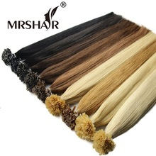 MRSHAIR 1g/pc 16″ 20″ 24″ Non Remy Nail U Tip Hair Extensions Straight Pre Bonded Hair On Keratin Capsules Hot Fusion Hair 50pcs