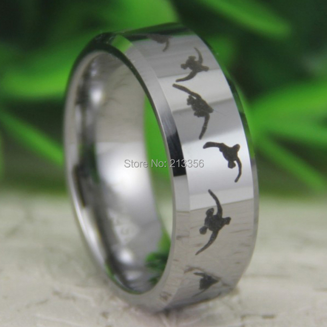 cheap price free shipping usa canada hot selling 8mm silver beveled duck hunting the lord mens