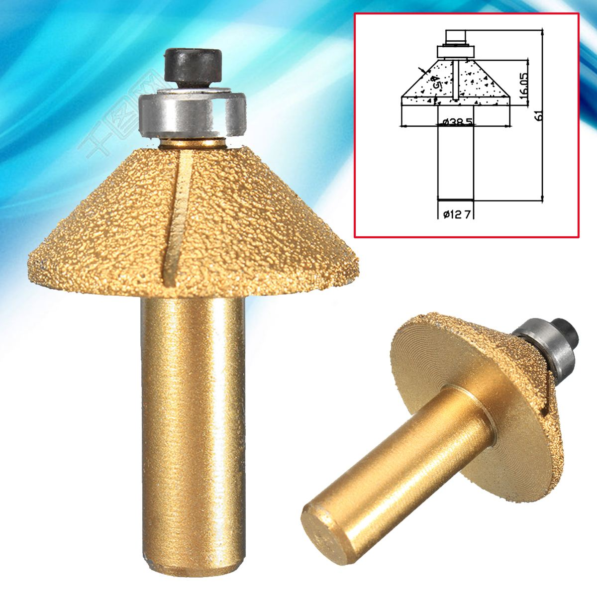 цена на 1/2'' Shank Diamond Stone Marble Grinding Edge Router Bit Profile Wheel Cutting Milling Cutter