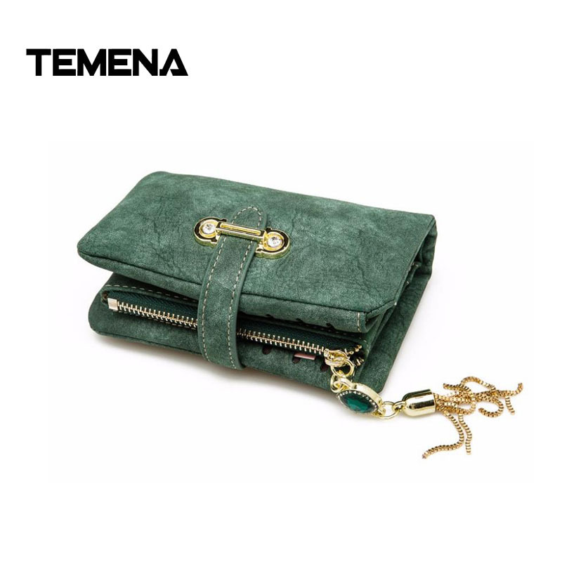 Temena New PU Leather Women Wallets Female Zipper Small Wallet Women Short Coin Purse Holders Retro Wallet and Purses AWL089