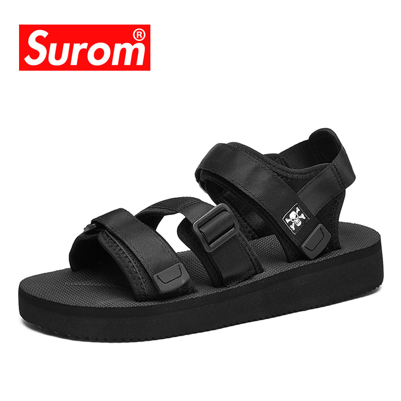 Surom 2019 Summer New Sandals Men Breathable Casual Shoes Fashion Thick Bottom Beach Sandals Outside Soft Non-slip Male Footwear(China)