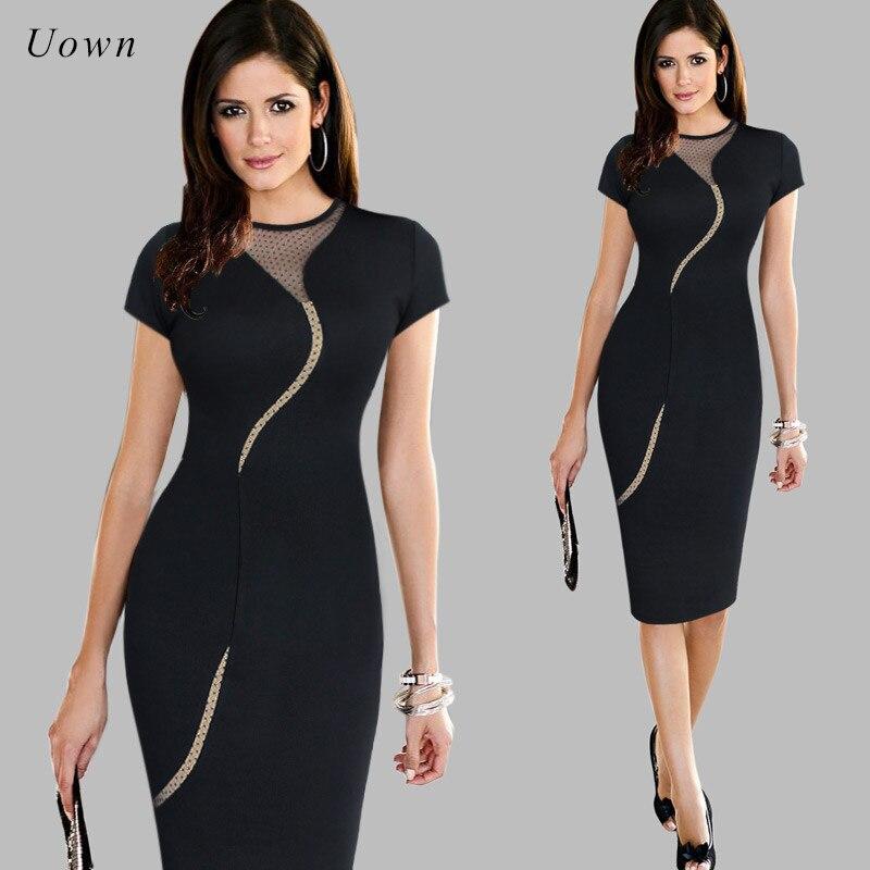 Ladies Office Wear Dresses Short Sleeve Bodycon Midi Pencil Dress Back Zipper Mesh Patchwo