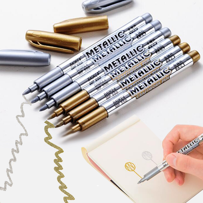 Baoke Metallic Marker Pens DIY Photo Album Sliver Gold Metal Color Paint Markers for Card Making Leather Stone Windows Draw Pens bigbang alive 2012 making collection repackage 2 photo books 150pages sticker release date 2013 5 22 kpop album
