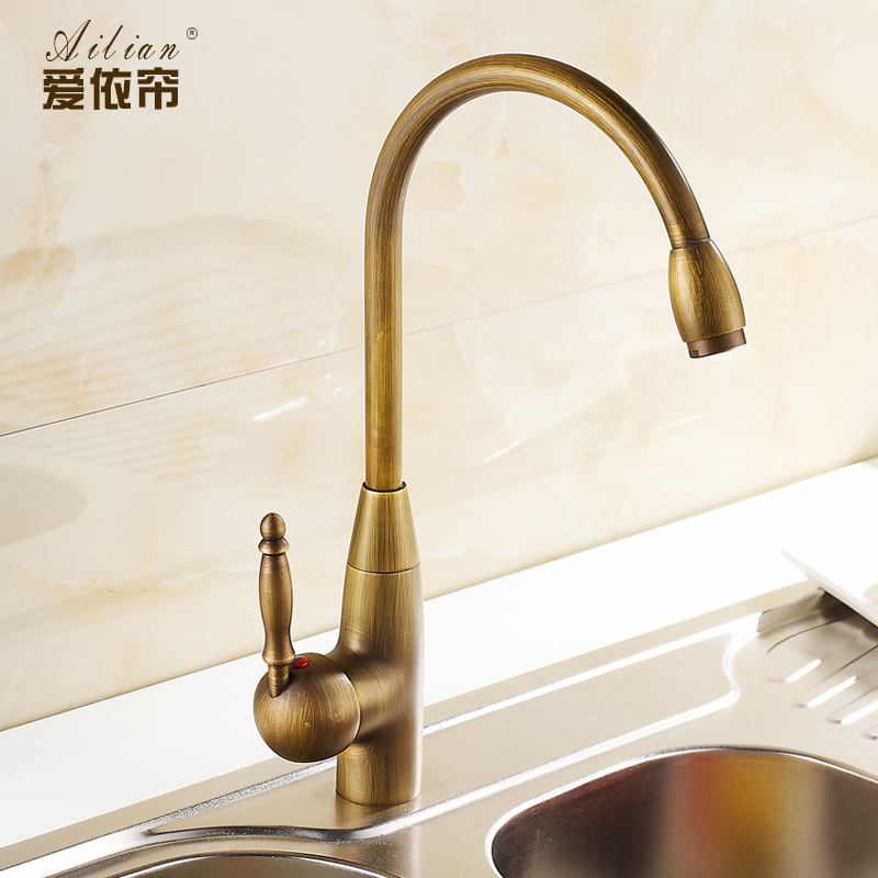 Factory wholesale European 100 bronze copper faucet antique vintage kitchen faucet hot cold water kitchen tap