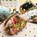 DreamShining Mulheres Bolsa Da Moeda Da Forma Do Vintage do Projeto Da Flor Da Senhora Lona Bolsa Da Mudança Pacote Ferrolho Moeda Chave Bolsa de Dinheiro Carteira