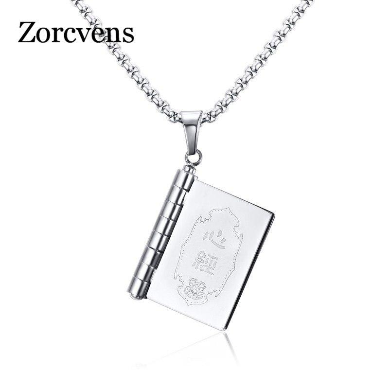 Новинка, подвеска в виде книги zorcins ожерелье, оптоволоконная из нержавеющей стали, молитвенные ювелирные изделия в китайском стиле