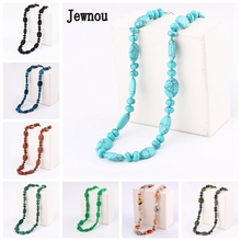 Jewnou Turquoise Necklace Power Natural Gemstone Jewelry Colorful Beads Chain Smart Fine Luxurious Gift Personalized Girl Choker