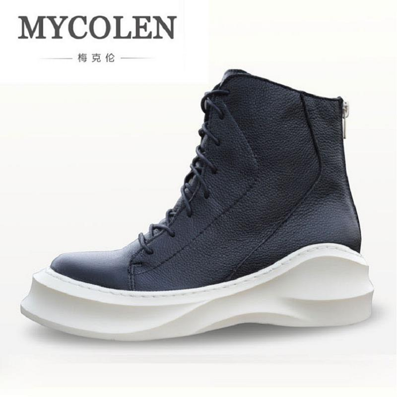 MYCOLEN 2017 New Winter Casual Men Shoes Lace-up + Zipper Flat With High Top Leather Shoes Black Martin Boots Botas De Lluvia top new men boots fashion casual high shoes cowboy style high quality lace up classic leather ankle brand design season winter