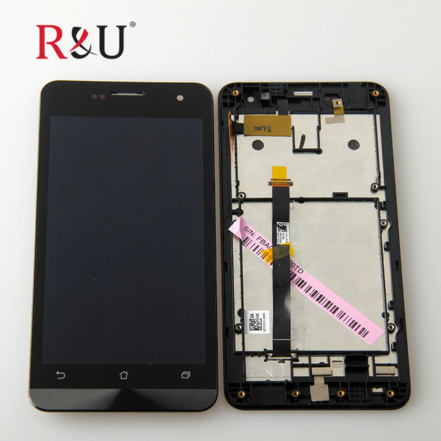 R&U test good 5 inch lcd screen display touch screen panel digitizer assembly with frame For Asus Zenfone 5 A500cg A501cg T00j