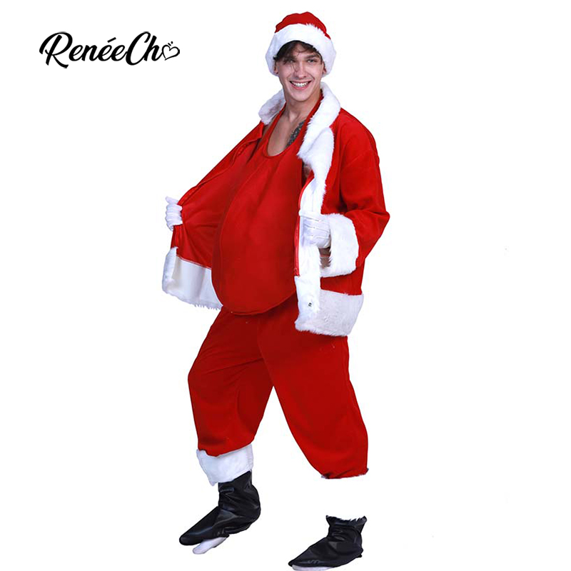 Reneecho Plus size Deluxe Velvet Christmas Costumes For Adult Classic Santa Claus Costume Belly Men Holiday Outfit Gift NEW YEAR