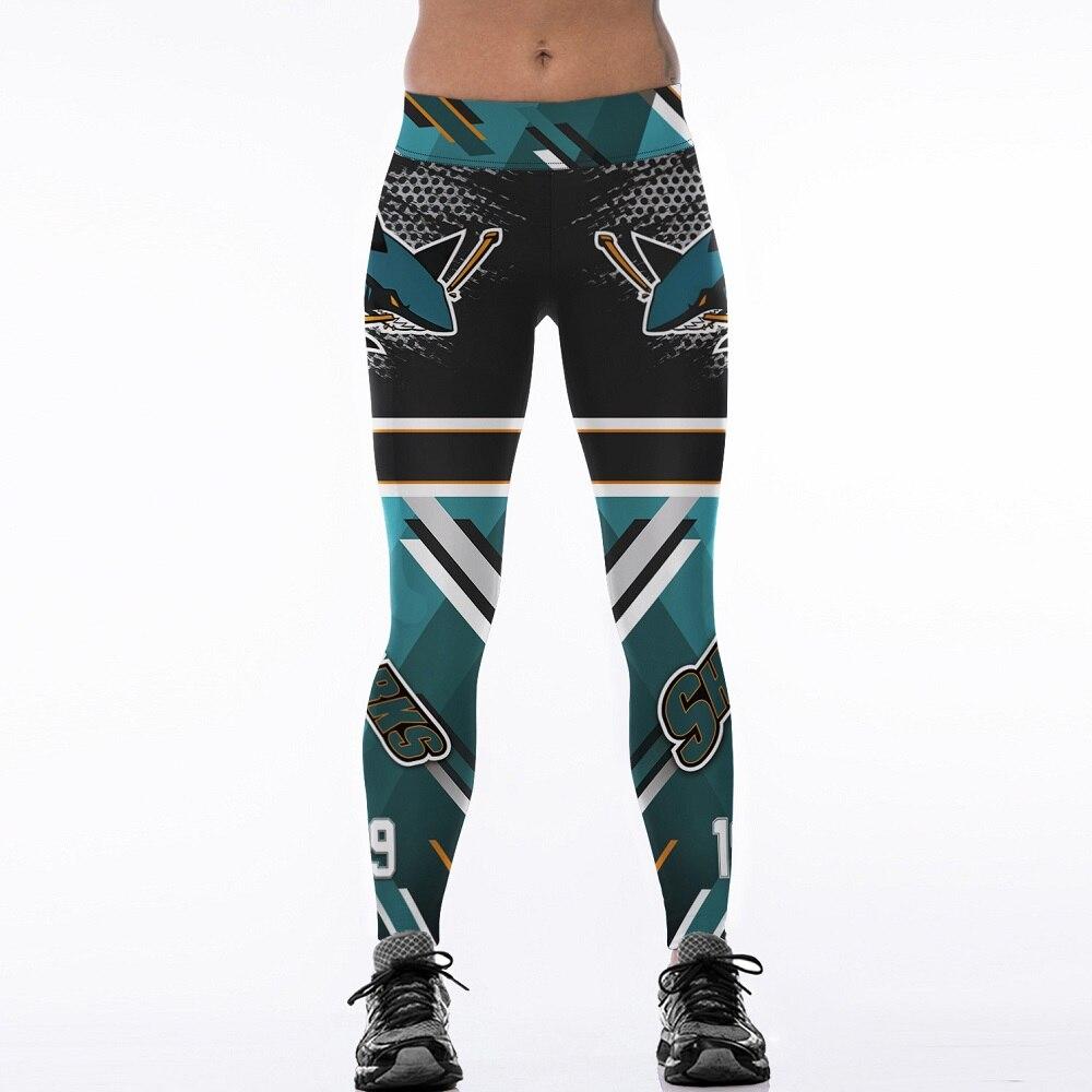 Women Elastic Trousers Sporting Fitness Pants 3D Printed NHL San Jose Sharks LOGO Slim P ...
