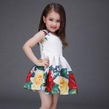 Christmas Kids Girls Print Floral Dresses Baby Girl Princess Cotton Dress 2016 Babies Autumn Sleeveless Dress bebe Clothing