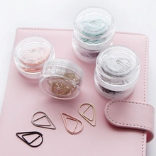 10 pcs Brief Style Waterdrop Shaped Metal Paper Clip Bookmark Stationery School Office Supply Escolar Papelaria Home Accessories