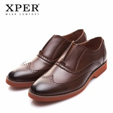 2018 XPER Brand Fashion Men Loafers Brogue Business Shoes Men Casual Shoes Retro Footwear Male Shoes Wear Comfortable #XAF86761