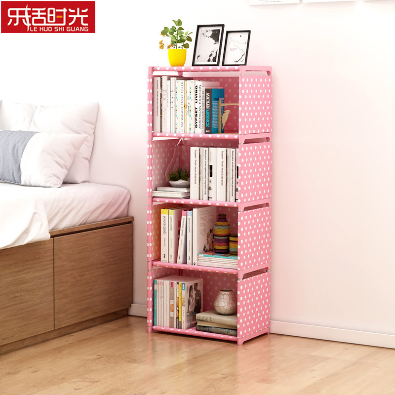 цена Multi layer Simple Bookshelf Nonwoven Wall Closet Sundries Storage Cabinet Can be moved Bookcase Creative Modern Home Decoration