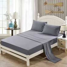 Grinding Embroidery Bedding Set Soft Gray Fitted Sheet + Flat Pillowcase Sets Queen 4-Piece Bedclothes