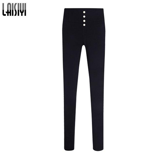 Laisiyi Fashion Leggings 2017 Spring High Waist Pencil Pants Trousers Women Elastic Pants Big Size Pantalones Mujer 4XL 5XL 825