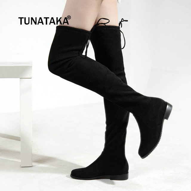 Women Square Low Heel Over The Knee Boots Flock Leather Fashion Lave Up Thigh  Boots Winter Stretch Fabric Women Shoes 417259195