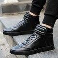 Nuevos hombres high top zapatos casuales diseñador de la marca de cuero de la pu del hombre cestas de hip hop zapatos de deporte al aire libre zapatillas hombre XK102207