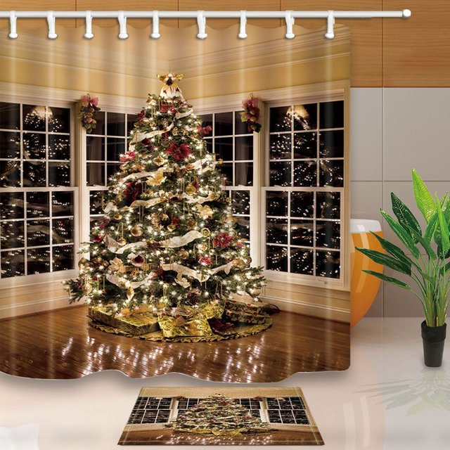 Christmas Shower Curtains Xmas Tree With Light Gift Box On Wooden In Room Mildew