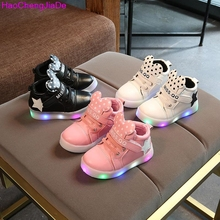 HaoChengJiaDe Girls LED lighted Shoes Autumn Children Cartoon Boots For Girls Boys Kids Casual Shiny Stars