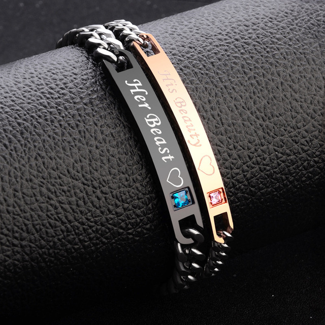 2Pc/Set Queen King Stainless steel Stone Women Man Chain Crystal Couple Bracelet for Men snap jewelry bracelet Pulseira hombres 2