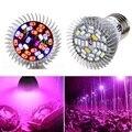 28 W lleno espectro LED crecer luz E27 creciente lámpara UV IR GU10 E14 bombilla 28 LED de la lámpara de la planta AC85-265V efecto Invernadero de frutas