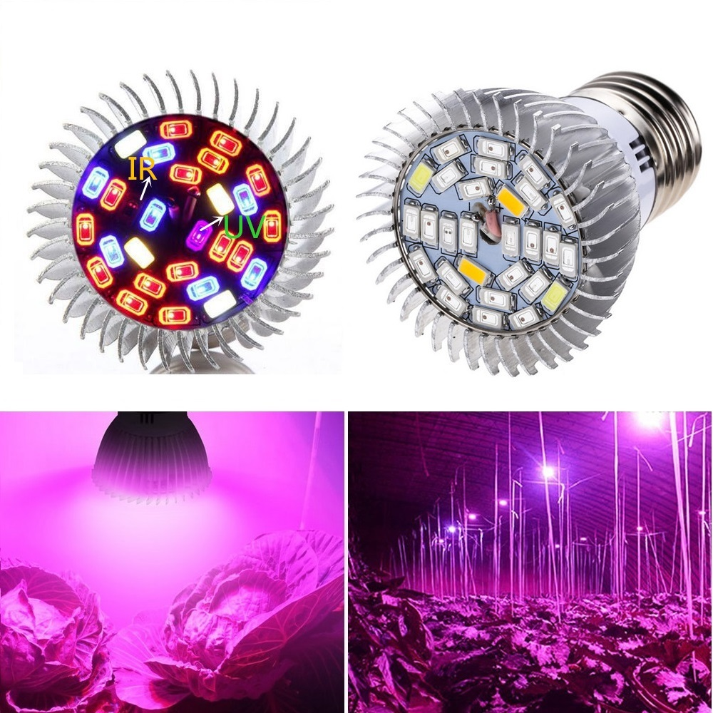 28W Full Spectrum LED Grow Light E27 Growing Lamp UV IR GU10 E14 Bulb 28LEDs Plant Lamp AC85-265V For Greenhouse Flower Fruits