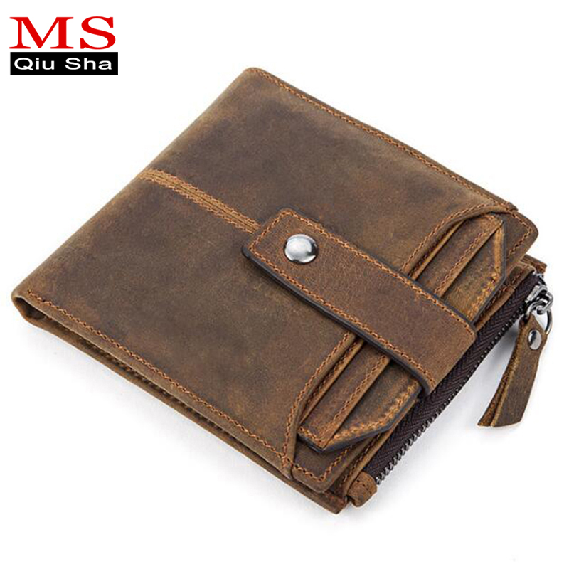 MS.QIUSHA Brand Crazy Horse Genuine Leather Men Wallet Male Purse Small Short Vintage Credit Card Holder Coin Purse Money Bag 2017 new wallet small coin purse short men wallets genuine leather men purse wallet brand purse vintage men leather wallet