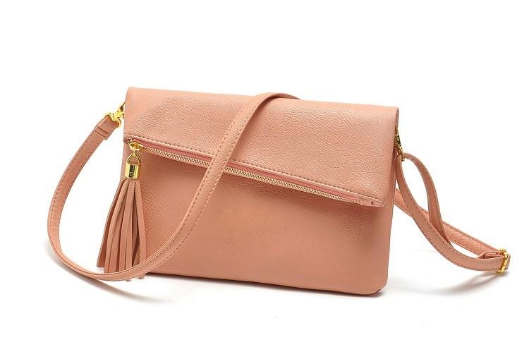 Women Leather Fashion Messenger Bag Tassel Fold Cover Sling Girl Shoulder  Crossbody Bag Famous Brand Design 51808998a