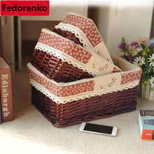 Home wicker storage basket for dirty clothes Sundries decorative baskets small large wasmand rotan organizer box