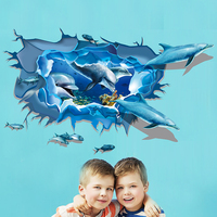 3D Dolphin Wall Stickers Home Decor For Living Room Bedroom Bathroom Removable PVC Mural Wall Stickers