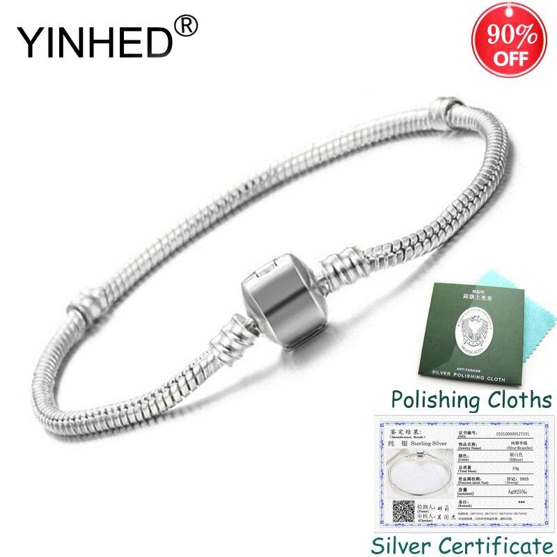 Enviado Certificado de Prata! YINHED Original DIY Pulseira Sólida 925 Cadeia De Cobra de Prata Bead Pulseiras para As Mulheres Jóias ZB027