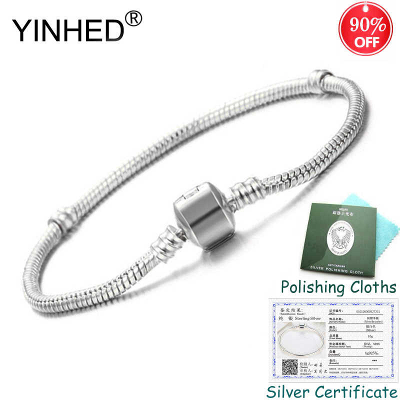 Sent Silver Certificate! YINHED Original DIY Bracelet Bangle Solid 925 Silver Snake Chain Bead Bracelets for Women Jewelry ZB027