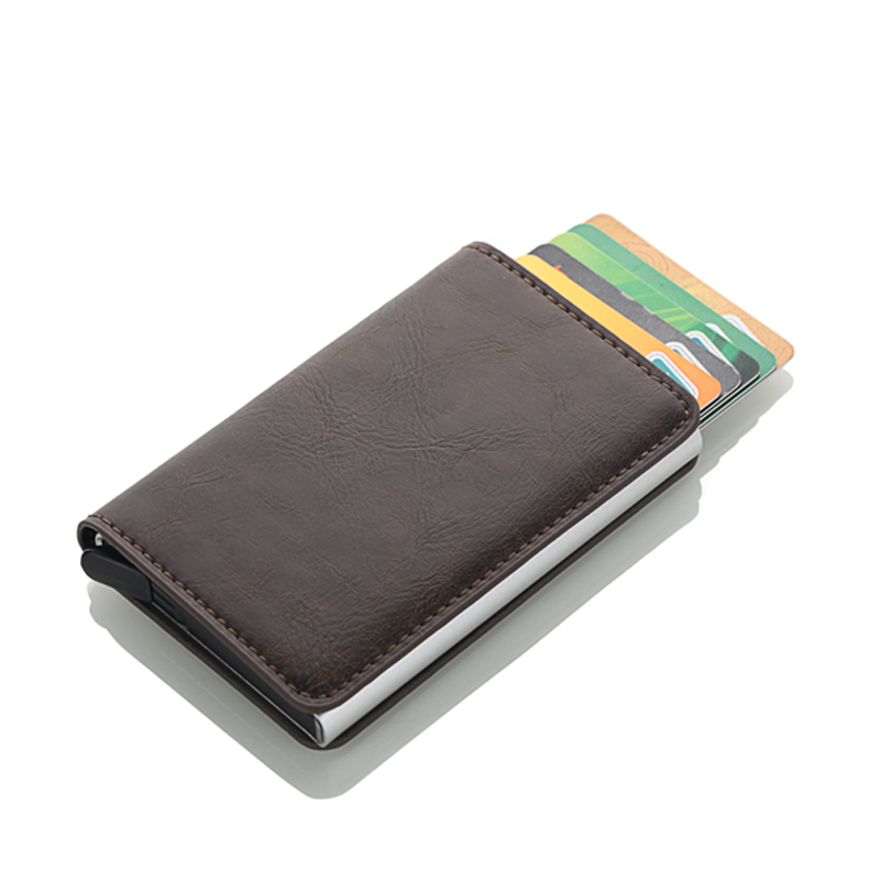 2019 New Automatic Credit Card Holder Men High Quality Aluminum Business ID Multifunction Card holder PU Leather Mini Wallet in Card ID Holders from Luggage Bags