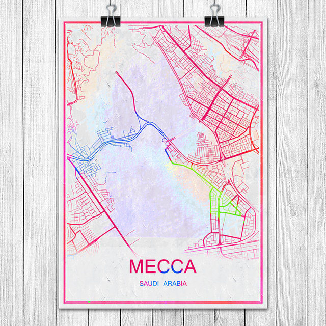 MECCA Saudi Arabia Colorful World City Map Print Poster Abstract
