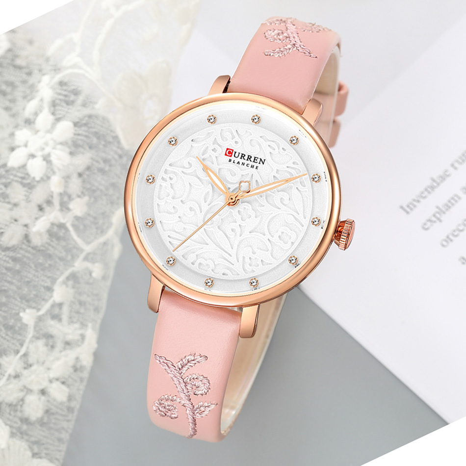 CURREN Ultra Thin Women's Watch Waterproof Sport Pink Women Watch Leather Strap Quartz Watch Ladies Rose Gold Relojes Mujer(China)