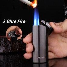 Бесплатная судоходный факел турбо Зажигалка струйный бутан 3 синий огонь сигара бумажный жгут для зажигания трубки газовая сигарета 1300 C ветрозащитная зажигалка