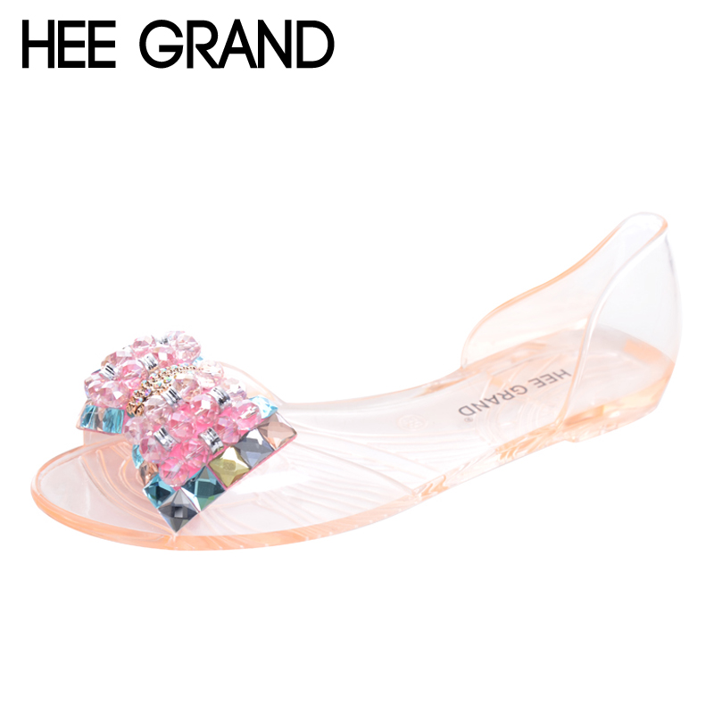 HEE GRAND Women Sandals Summer Style Bling Bowtie Peep Toe Jelly Shoes Woman Crystal Flats Ladies 4 Colors Size 35-40 XWZ3283 newest design stylish wedge sandals bling bling multicolor rhinestone decoration celebrities style concise peep toe party shoes